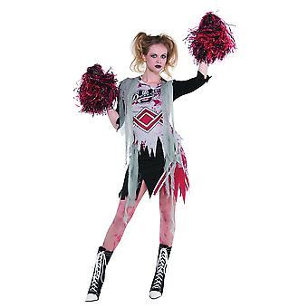 Womens vrolijke Zombie cheerleader fancy dress kostuum Halloween