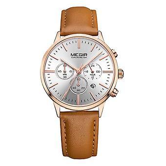 Megir Ladies Round Quartz Analogue Luxury Watch Rose Gold Watches Brown Leather