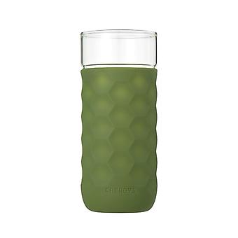 Honeycomb Anti-skid Glass with Silicone Sleeve 380ml in Green