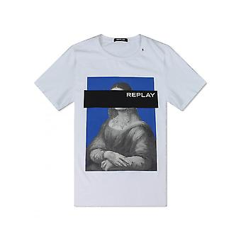 Replay Jeans replay Mona Lisa print T shirt wit