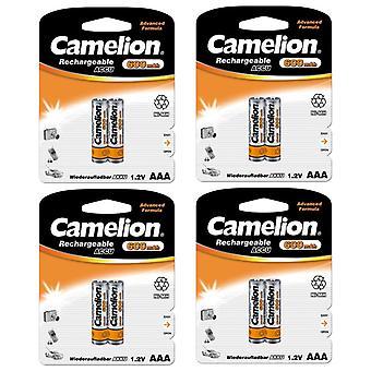 8x Camelion genopladelige batterier AAA NiMH 600mAh batteri