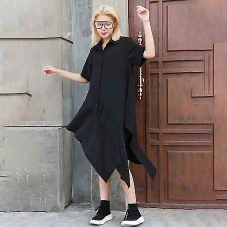 O Neck Short Sleeve Loose Oversize Assymetrical Dress