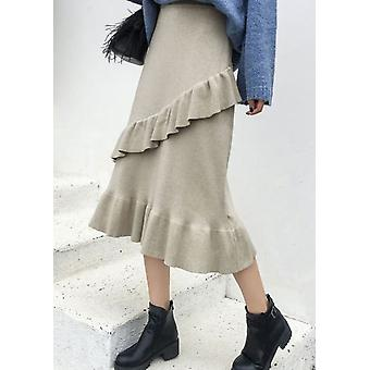 Knitted Ruffle Hem Midi Skirt Beige