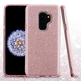 ASMYNA rosa full glitter hybrid Case för Galaxy S9 plus