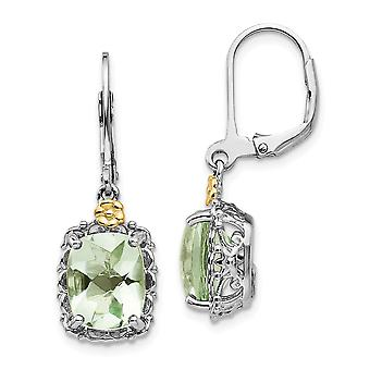925 Sterling Silver Polished Prong set Leverback Com 14k Green Quartz Earrings Jewely Gifts for Women