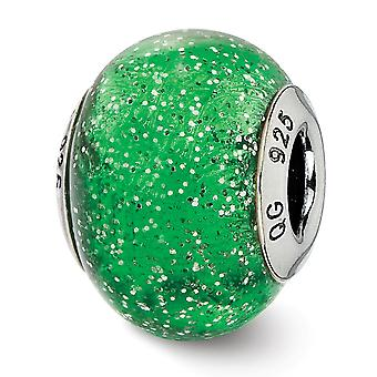 925 Sterling Silver Polished finish Italian Murano Glass Reflections Italian Green With Silver Glitter Glass Bead Charm