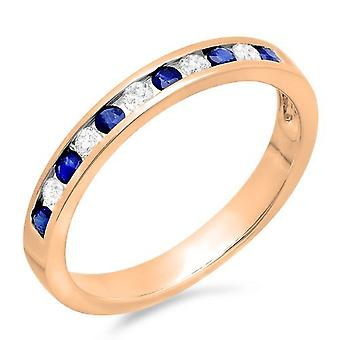 Dazzlingrock Collection 10K Round White Diamond & Blue Sapphire Ladies Wedding Stackable Ring Band 1/2 CT, Rose Gold