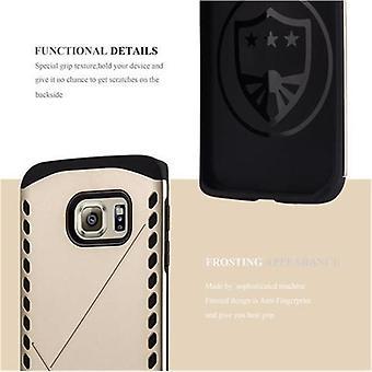 Cadorabo tapauksessa Samsung Galaxy S6 EDGE - tapauksessa GUARDIAN GOLD - kova kotelo TPU silikoni suojakotelo hybridi kattaa ulkona heavy duty design