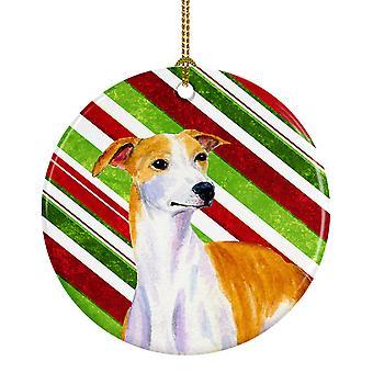 Bastón de caramelo de Whippet vacaciones Navidad adorno cerámica LH9238