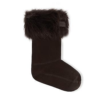 Hunter Kids Faux Pelliccia Wellington Boot Sock - Nero