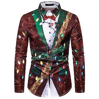 Allthemen Men's Christmas Series Printed Long Sleeve Shirt