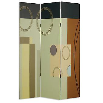 "1"" x 48"" x 72"" Multi Color Wood Canvas 3 Panel Screen"