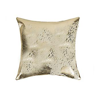 """18"""" x 18"""" x 5"""" Gray And Gold Cowhide - Pillow"""