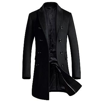 Allthemen Men-apos;s Solid Lapel Mid-Length Casual Coat Double-Breasted Winter Outwear Long Overcoat