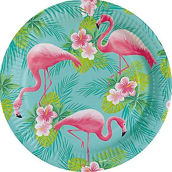 Flamingo Beach Party plade 23cm Pappteller 8 Piece sommer grill fest fødselsdagsfest
