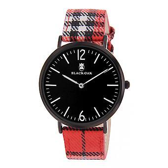 Montre Black Oak BX97071-909 - Tissu Rouge Boitier Acier Noir Cadran Noir Homme