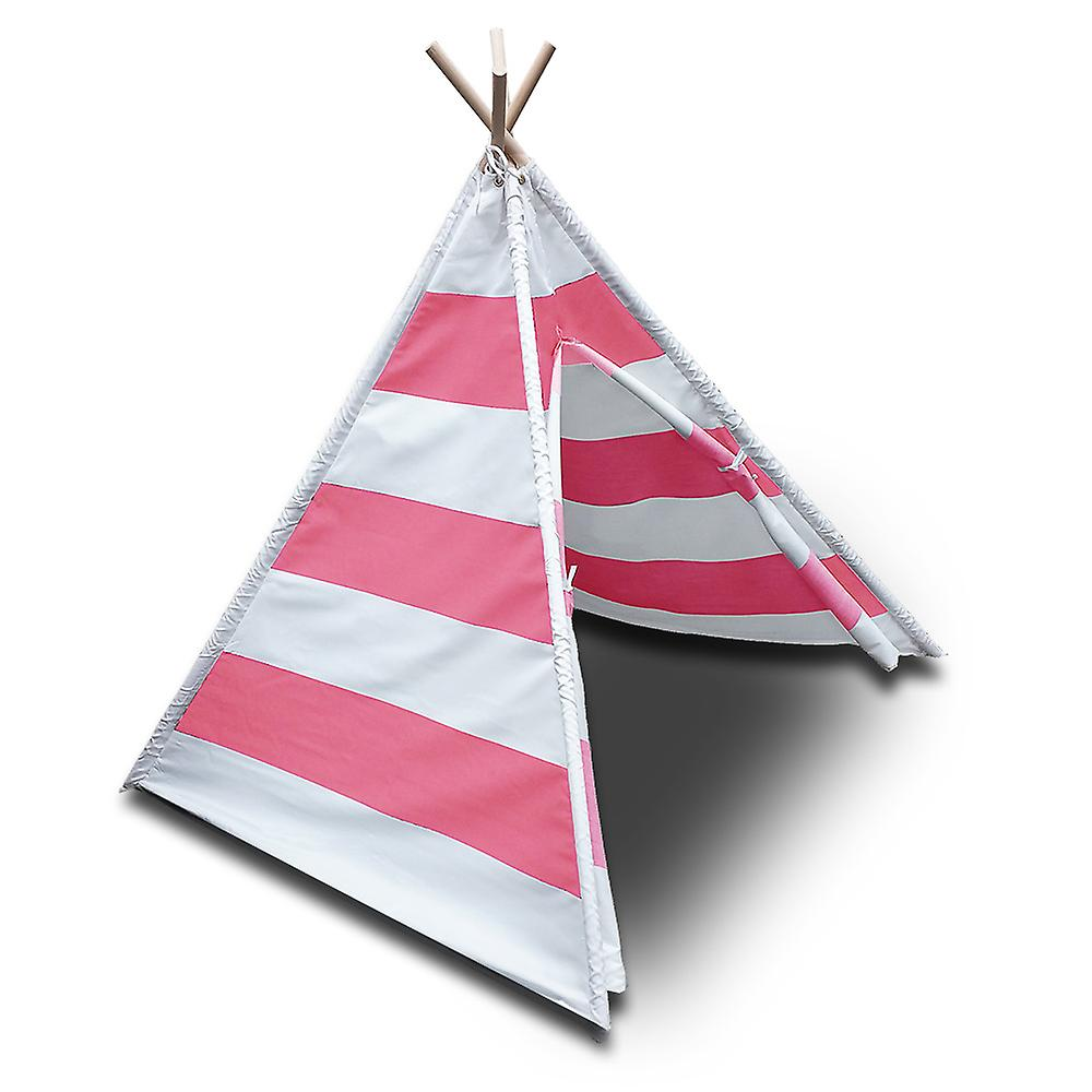 Modern Home Children's Canvas Tepee Set with Travel Case - Pink Stripes
