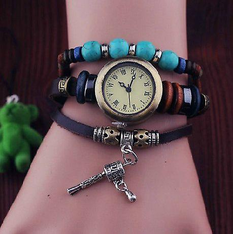 Bohem-style women's watch with feather and charm cowskin