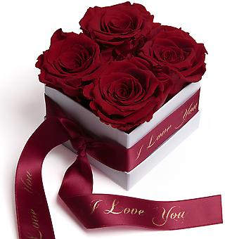 Roses Box White Eternal Roses Dark Red I Love You Gift