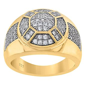 925 Sterling Silver Yellow tone Mens CZ Cubic Zirconia Simulated Diamond Cluster Round Fashion Ring Band Jewelry Gifts f