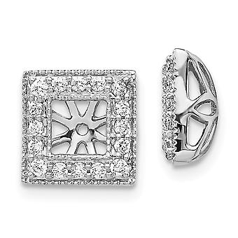 10mm 14k White Gold Diamond Square Jacket Earrings Jewelry Gifts for Women - .34 dwt