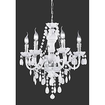 Trio Lighting L'a1/4Ster White Shabby Chic Acrylic Chandelier 5 Lumière