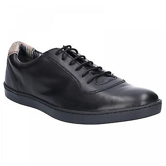 Base London Mens Hustle Black Leather Softy Lace Up Trainers