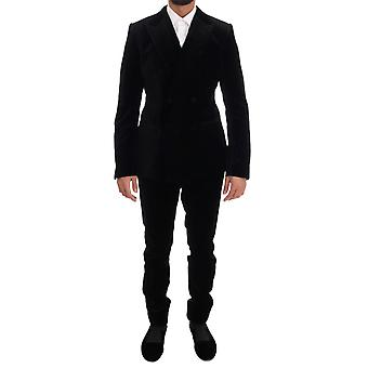 Dolce & Gabbana Black Velvet Slim Double Breasted Plain Suit