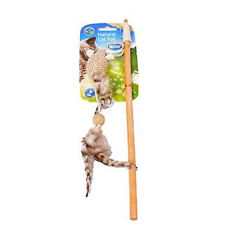 Duvo+ Cane Cat Toy Natural Jute And Feathers 35 X 14 X 4.5 Cm