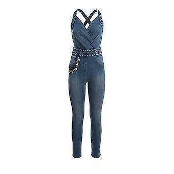 Elisabetta Franchi Tj10i01e2192 Damen's Blauer Baumwoll-Jumpsuit