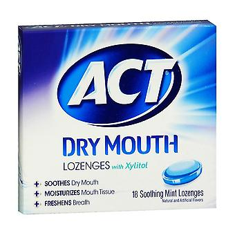 Act dry mouth lozenges, honey lemon, 18 ea