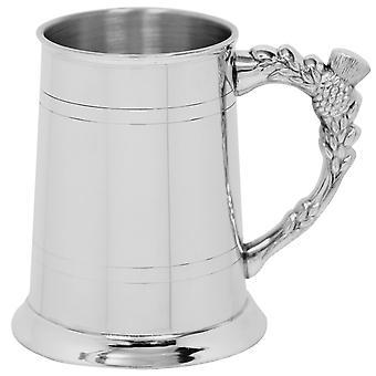 Skót Thistle Handle Pewter Tankard-1 pint
