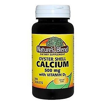 Nature's blend oyster shell calcium, 500 mg, vitamin d3, tablets, 100 ea