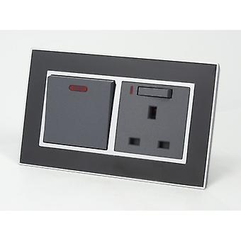 I LumoS AS Luxury Black Mirror Glass Double 20A Switch with Switched Neon 13A UK Socket