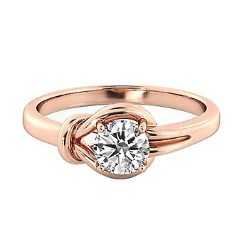 0.6 quilate D SI1 diamante anillo solitarios 14K Rose Gold Solitaire nudo 4 puntas
