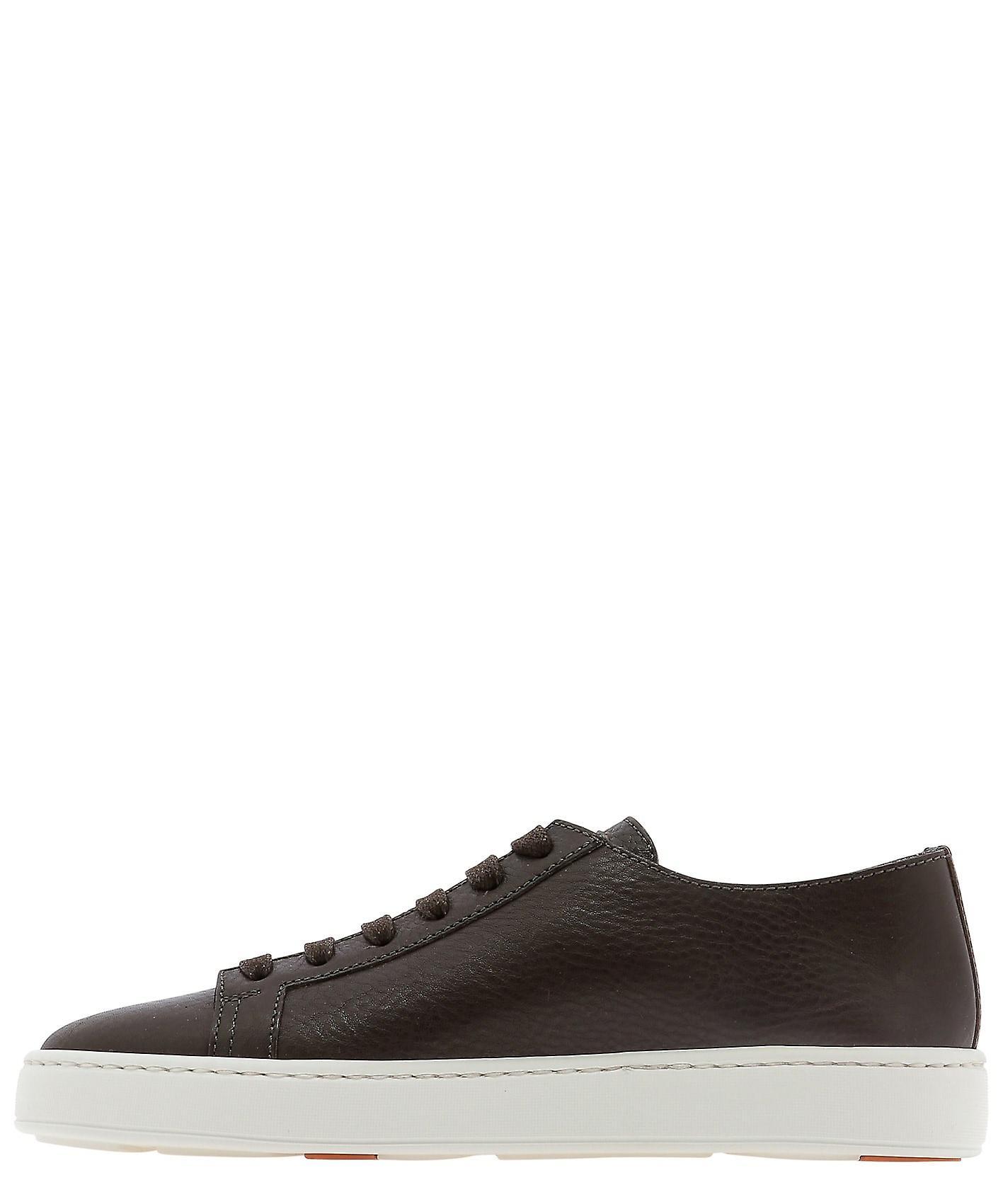 Santoni Mbcn21332barct0vt50 Men-apos;s Brown Leather Sneakers