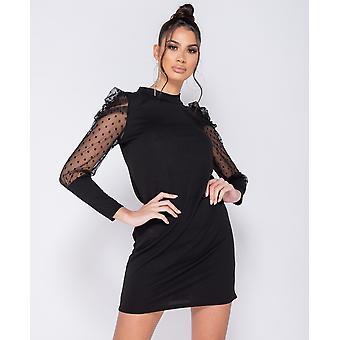 Polka Dot Sheer Puffed Sleeve Bodycon Mini Dress - - Black