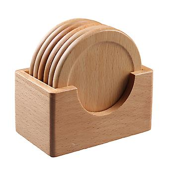 6 Pcs Beech Wood Coaster