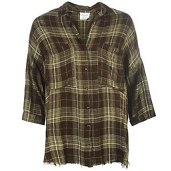 Firetrap Womens Blackseal Check Shirt Lightweight Collar Press Stud Fastening