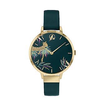 Sara Miller SA2084 Women's Tahiti Green Leather Strap Wristwatch