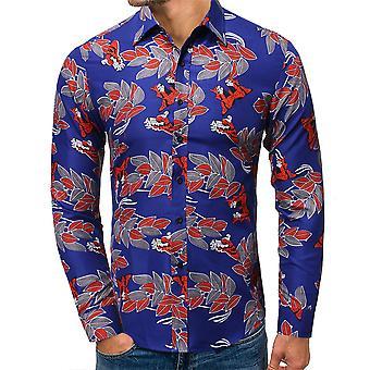 Allthemen Men's Lapel Floral Printl Camicia a maniche lunghe