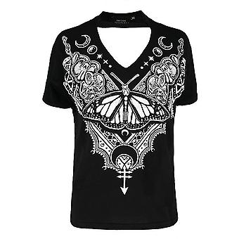 Restyle Henna Butterfly Choker Top