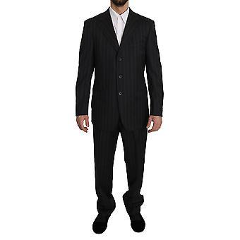 Z Zegna Black Striped Two Piece 3 Button Wool Suit KOS1475-50