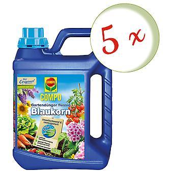 Sparset: 5 x COMPO garden fertilizer Blue grain® NovaTec® liquid, 2.5 litres