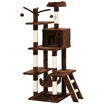 PawHut 155cm Deluxe Cat Tree Multi-Activity Pet Play w/ House Perch Hammock Ladder Bed Hanging Balls Plush Upholstery Safe Kitten Home Fun Brown