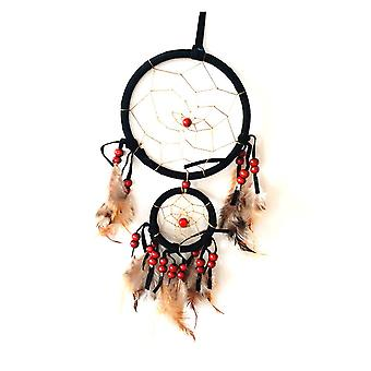 Nemesis agora beaded Double Dreamcatcher Red