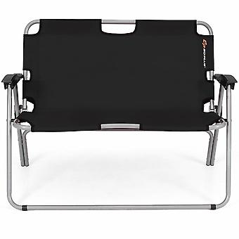 Outdoor Folding Camp Chair Garden Patio Armchair Bench Aluminum Frame Black New