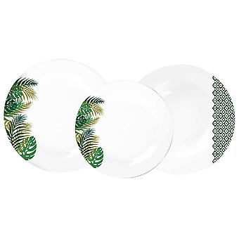 Piatti New Jungle Colore Bianco, Verde in Porcellana, Ogni Piatto Fondo L20xP20 cm, Ogni Piatto Piano L26,5xP26,5 cm, Ogni Piatto Frutta L19,5xP19,5 cm
