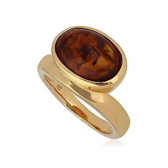 Kosmos Amber Cocktail Ring in Gold Plated Sterling Silver T1050R902317