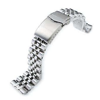 Strapcode watch bracelet 22mm angus jubilee 316l stainless steel watch bracelet for seiko turtle srp777, brushed/polished, v-clasp